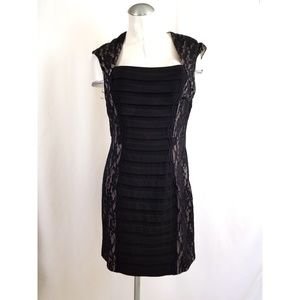 Jax Size 14 Black Lace Dress Midi Cocktail